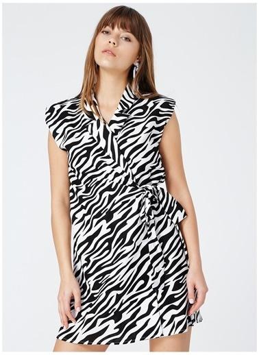Fabrika Fabrika Yafa Siyah - Beyaz Desenli Kadın Elbise Siyah